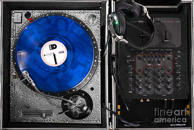 Dj Blue Vinyl Mixing Board Poster