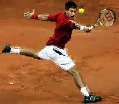 Djokovic French Backhand Poster by Brian Menasco