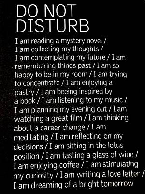 Do Not Disturb Poster by Zinvolle Art