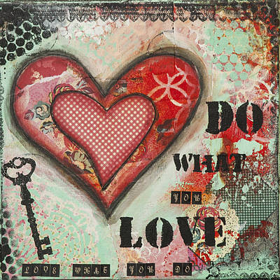 Do What You Love Inspirational Mixed Media Folk Art Poster