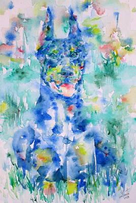 Doberman In The Grass - Watercolor Portrait Poster by Fabrizio Cassetta