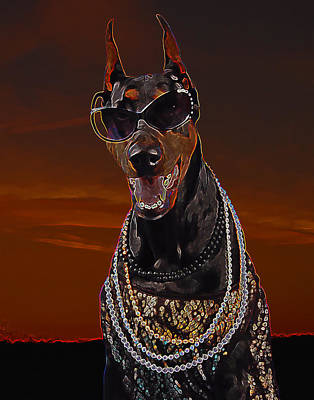 Doberman Style Poster by Brian Graybill
