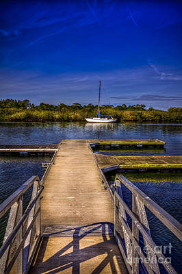 Dock And Boat Poster by Marvin Spates