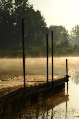 Poster featuring the photograph Dock In The Mist by Kimberleigh Ladd