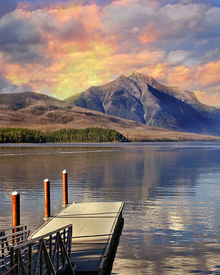 Dock On Lake Mcdonald Poster by Marty Koch