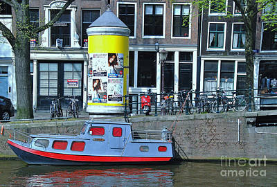 Poster featuring the photograph Docked In Amsterdam by Allen Beatty