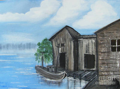 Poster featuring the painting Docked At Bayou by Mindy Bench