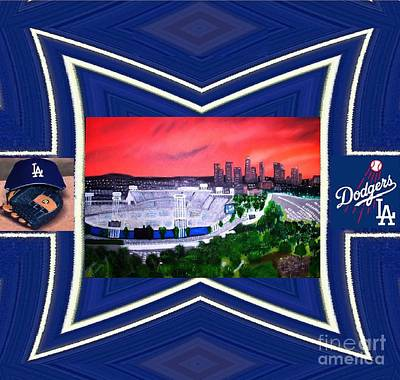 Dodger Stadium Framed Poster by Israel  A Torres