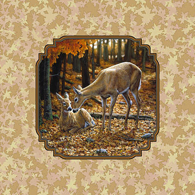 Doe And Fawn Autumn Leaves Pillow And Duvet Cover Poster