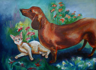 Dog And Cat In The Garden Poster
