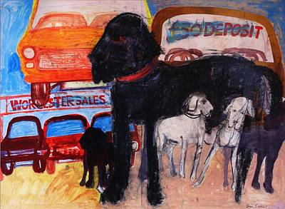 Dog At The Used Car Lot, Rex Gouache On Paper Poster by Brenda Brin Booker