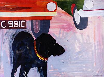 Dog At The Used Car Lot, Rex With Orange Car Gouache On Paper Poster by Brenda Brin Booker