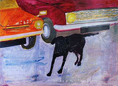 Dog At The Used Car Lot, Rex With Red Car Gouache On Paper Poster by Brenda Brin Booker