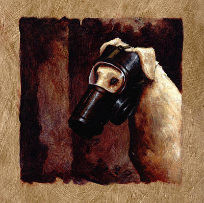 Dog Gas Mask Poster by Mark Zelmer