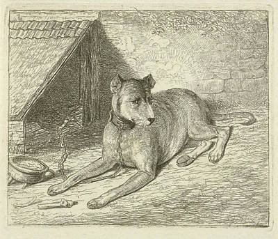 Dog On A Chain In A Doghouse, For Him A Bone Poster by Johannes Mock