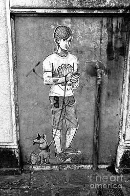 Dog Walker In Venice Poster by John Rizzuto