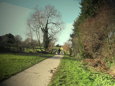 Dog-walker On Former Canal Route, Path, Cycleway And Route Poster by Litz Collection