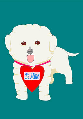 Dog With Be Mine Valentine Poster