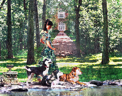 Dogs Lay At Her Feet Poster by Steve Karol