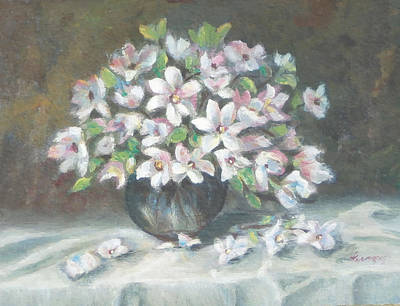 Poster featuring the painting Dogwood Buquet by Katalin Luczay