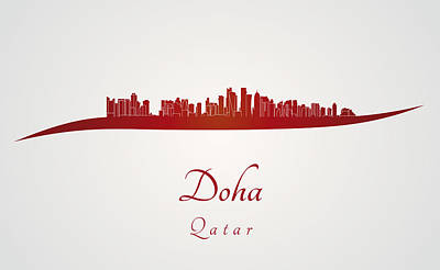 Doha Skyline In Red Poster