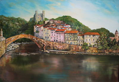 Poster featuring the painting Dolceacqua Italy by Jean Walker