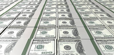 Dollar Bill Bundles Laid Out Poster