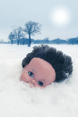 Dolls Head In Snow Poster by Amanda Elwell