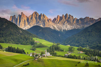 Dolomites From Val Di Funes Poster