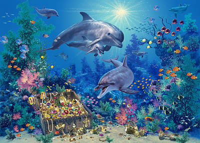 Dolphin Family Variant Poster by Steve Read