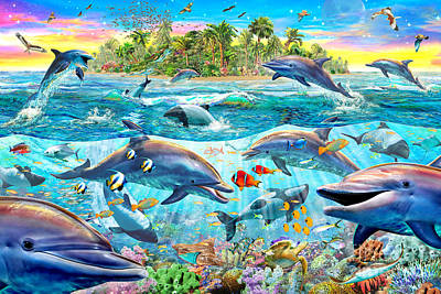 Dolphin Reef Poster by Adrian Chesterman