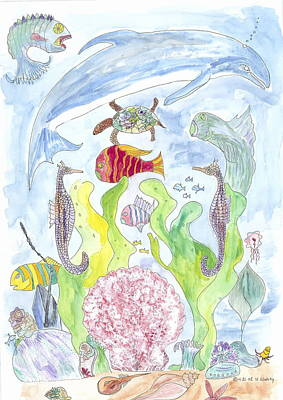 Poster featuring the painting Dolphin With Pink Sea Scallop by Helen Holden-Gladsky