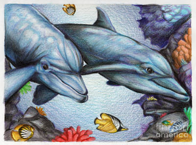 Dolphins In The Reef Poster by Derrick Rathgeber
