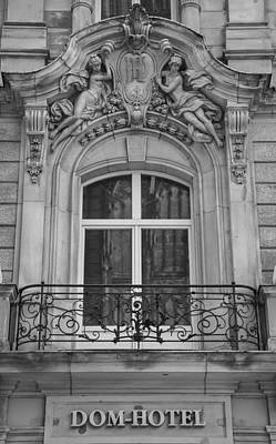 Dom Hotel Balcony B W Poster