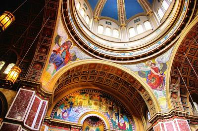 Poster featuring the photograph Dome Of St. Matthews Washington Dc by John S