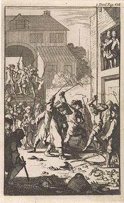 Don Clarazel Mistreated By Coachmen In An Inn Near Toulon Poster by Caspar Luyken And Johannes Broersz And Nathanael Holbeex