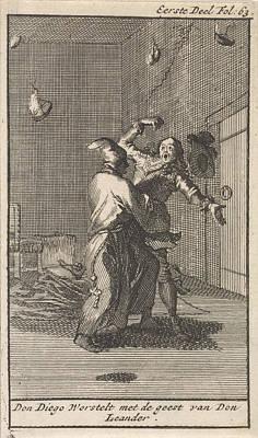 Don Diego Struggles With The Spirit Of Don Leander Poster by Caspar Luyken And Jan Claesz Ten Hoorn