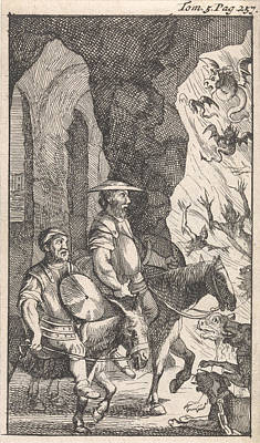 Don Quichotte And Sancho Ride Past A Smithy Which Poster