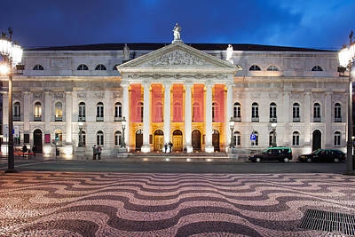 Dona Maria II National Theater At Night In Lisbon Poster