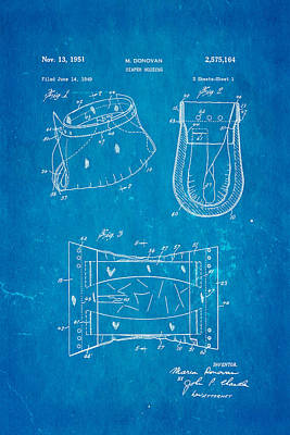 Donovan Disposable Diaper Patent Art 1951 Blueprint Poster by Ian Monk