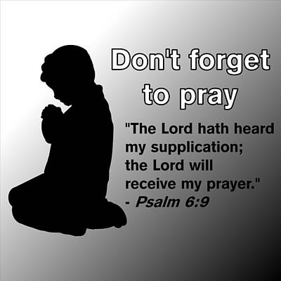 Don't Forget To Pray Praying Child Poster by Pharris Art