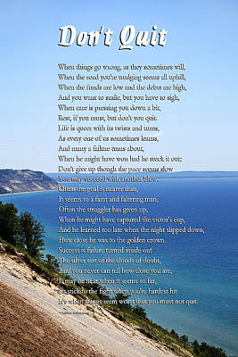 Don't Quit Inspirational Poem Poster by Christina Rollo