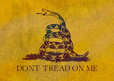 Don't Tread On Me Gadsden Flag Patriotic Emblem On Worn Distressed Yellowed Parchment Poster