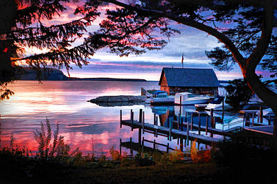 Door County Anderson Dock Sunset Poster