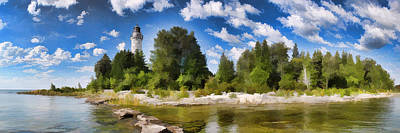 Door County Cana Island Lighthouse Panorama Poster by Christopher Arndt