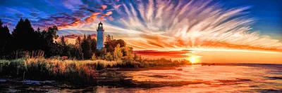 Door County Cana Island Lighthouse Sunrise Panorama Poster