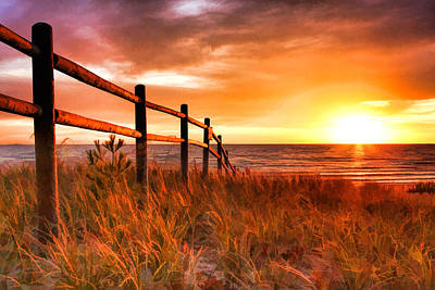 Door County Europe Bay Fence Sunrise Poster