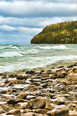 Door County Porcupine Bay Waves Poster by Christopher Arndt