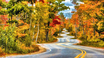 Door County Road To Northport In Autumn Poster