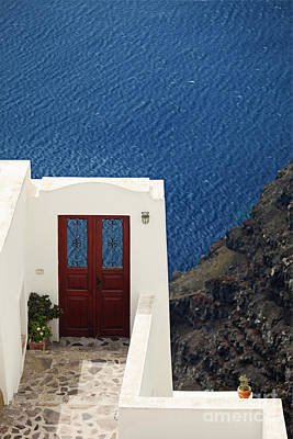 Door Facing The Aegean Sea Poster by Aiolos Greek Collections